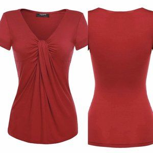 ZEAGOO Wine Red V-Neck Twist Knot Top